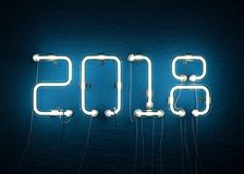New year 2018 made from neon alphabet. 3D illustration Stock Photos