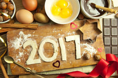2017 new year. 2017 made with pastry and fresh baking ingredients royalty free stock images