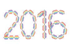 New Year 2016 made in rainbow colors. On white background Royalty Free Stock Photo