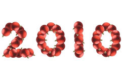 New year made by red Christmas balls. Stock Images