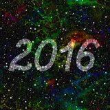 New Year 2016 made of stars in colorful universe. Seamless illustration. New Year 2016 made of stars in colorful universe Stock Photo