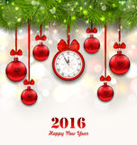 New Year Magic Background with Clock, Fir Twigs. Illustration New Year Magic Background with Clock, Fir Twigs and Glass Balls - Vector Royalty Free Stock Images