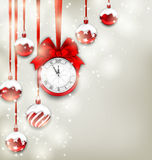 New Year Magic Background with Clock and Glass Balls. Illustration New Year Magic Background with Clock and Glass Balls, Glowing Holiday Adornment - Vector Stock Photo