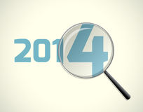 New year 2014. Magnifying glass, new 2014 focus, vector illustration Stock Photos