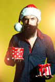 New year man with presents Royalty Free Stock Images