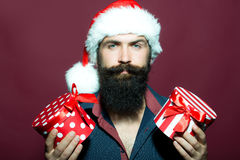 New year man with presents royalty free stock photos