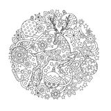 New year mandala with deer and festive objects. Zentangle inspired style.   Stock Images