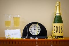 2018 New Year mantlepiece with midnight clock Stock Photos