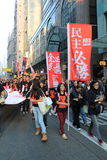 New year marches in Hong Kong 2014 Stock Photo
