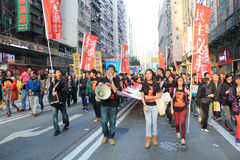 New year marches in Hong Kong 2012 Royalty Free Stock Image
