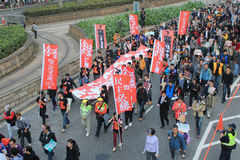 New year marches in Hong Kong 2012 Royalty Free Stock Photos