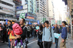 New year marches in Hong Kong 2014 Royalty Free Stock Photos