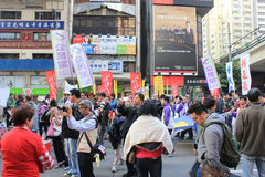 2014 New Year marches in Hong Kong Royalty Free Stock Photo