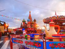 New Year Market in Moscow at Red Square - January. 02, 2015. Moscow Chirstmas and New Year Markets Stock Photo