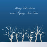 New Year and Marry Christmas cards. With winter snowy landscapes, trees and dark sky Royalty Free Stock Image