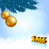 New Year 2016 and X-mas decoration. An editable vector illustration of golden baubles and New 2016 Year numbers Royalty Free Stock Photography