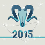 New year mascot goat. On a background of the constellation of Capricorn stock illustration