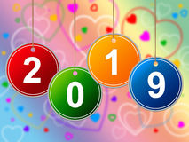 New Year Means Two Thousand Nineteen And Annual. New Year Representing Two Thousand Nineteen And Celebrate Stock Images