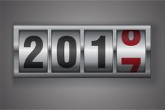 New year mechanical counter showing 2018 Royalty Free Stock Images