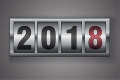 New year mechanical counter showing 2018. New year mechanical counter showing 2017 switching to 2018 Royalty Free Stock Image