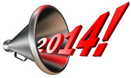New year 2014 in megaphone Royalty Free Stock Images