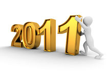 New Year. Men with numbers 2011. 3d Stock Photo