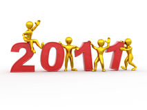 New Year. Men with numbers 2011. 3d vector illustration