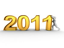 New Year. Men with numbers 2011. 3d Stock Image