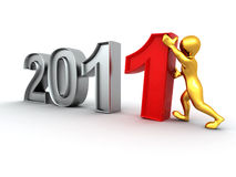 New Year. Men with numbers 2011. 3d Royalty Free Stock Image