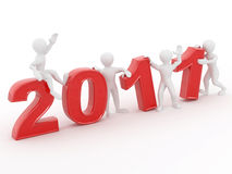 New Year. Men with numbers 2011. 3d stock illustration