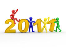 New Year. Men with numbers 2011 Stock Image