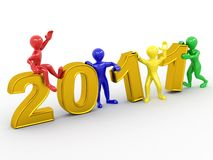 New Year. Men with numbers 2011. 3d Stock Photos