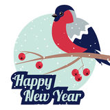 New Year and Merry Christmas Bullfinch. New Year Bullfinch and New Year Rowan Tree Branch NewYear Wish Postcard with Bullfinche,Rowan Branch and NewYear Stock Images