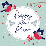 New Year and Merry Christmas Bullfinch. New Year Bullfinch and New Year Rowan Tree Branch NewYear Wish Postcard with Bullfinches,Rowan Branches and Round Frame Stock Photos