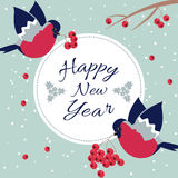 New Year and Merry Christmas Bullfinch. New Year Bullfinch and New Year Rowan Tree Branch NewYear Wish Postcard with Bullfinches,Rowan Branches and Round Frame Stock Photo