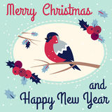 New Year and Merry Christmas Bullfinch. Merry Christmas Bullfinch w Christmas Rowan Tree Branch and New Year Bullfinch w New Year Rowan Tree Branch Wish Postcard Royalty Free Stock Photography