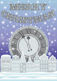 New year and Merry Christmas card with clock and winter city Stock Photos