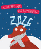 New Year and Merry Christmas card illustration. Royalty Free Stock Photo