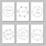 New Year and Merry Christmas decoration set. Typography set.The main symbols of the holiday. Vector logo, emblems, text design. Usable for banners, greeting Stock Photos
