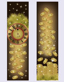 New Year and Merry Christmas golden banners Stock Image