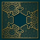 New Year or Merry Christmas greeting card cover background with frame in snowflake shape Stock Photo