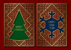 New Year or Merry Christmas greeting card cover template with Christmas tree and snowflake frame Stock Images