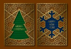 New Year or Merry Christmas greeting card cover template with Christmas tree and snowflake frame Royalty Free Stock Photography