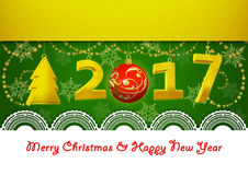 New Year 2017 and Merry Christmas Greeting Card on green background. Greeting Card on New Year and Merry Christmas royalty free illustration