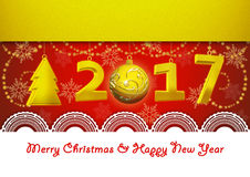 New Year 2017 and Merry Christmas Greeting Card on red background. Greeting Card on New Year and Merry Christmas stock illustration