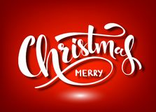 New year. Merry Christmas handwritten lettering. White text isolated on red background. Christmas holidays typography. Vector illustration royalty free illustration