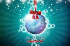 New Year 47. Merry Christmas and Happy New Year vector illustration