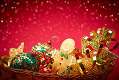 New Year 2016. Merry Christmas. Party decoration. New Year 2016. Merry Christmas. Party festive decoration, gingerbread balls stars serpentine, in basket Royalty Free Stock Photo