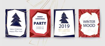 New Year and Merry Christmas party invitation, background. Geometric art style design with holiday tree. Greeting card, flyer, poster. Winter card template vector illustration