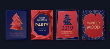 New Year and Merry Christmas party invitation, background. Geometric art style design with holiday tree. royalty free stock photos